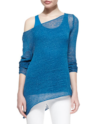 Bateau-Neck Long-Sleeve Ribbon Jersey Top, Cerulean