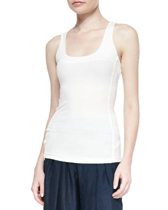 Seamed Scoop-Neck Tank Top, Ivory