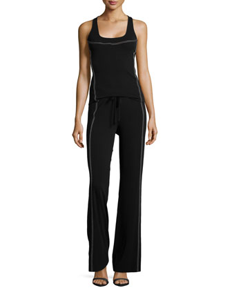 Contrast-Stitch Wide-Leg Pants, Black/Ivory