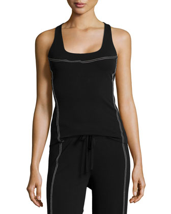Contrast-Stitch Seamed Tank, Black/Ivory