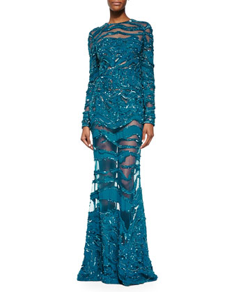 Beaded Sheer-Inset Lace Gown, Capri Blue