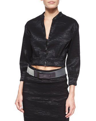 Crinkled Organza Cropped Jacket, Cross-Front Top, Stretch Organza Trumpet ...