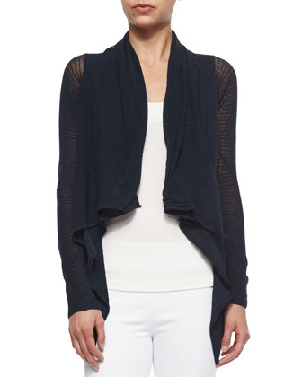 Long-Sleeve Draped-Front Twisted Cropped Cozy