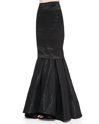 Stretch Organza Trumpet Skirt, Black