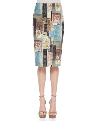 Tuck-Pleated Peplum Jacket & Stencil Patchwork-Print Pencil Skirt
