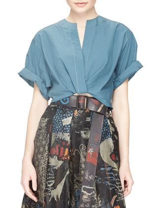 Contrast-Stitched Camp Shirt, Faded Indigo