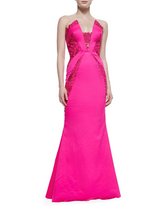 Strapless Lace-Inset Gown, Hot Watermelon