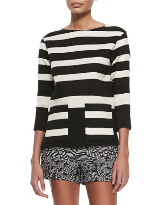 Boat-Neck Striped Pique Tunic, Black/Natural