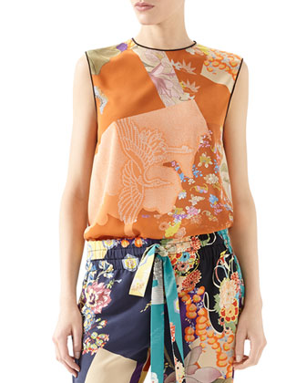 Patchwork Print Silk Piping Top