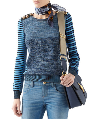 Patchwork Knit Long-Sleeve Top