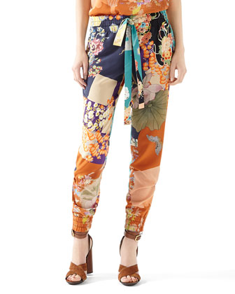 Patchwork Print Silk Piping Top & Patchwork Print Silk Jogging Pant