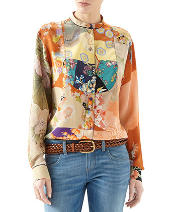 Patchwork Print Crepe De Chine Button-Down Shirt & Washed Denim Skinny ...