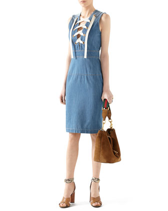 Denim Sleeveless Lace Up Dress