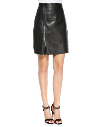 Side-Zip Leather Skirt, Black