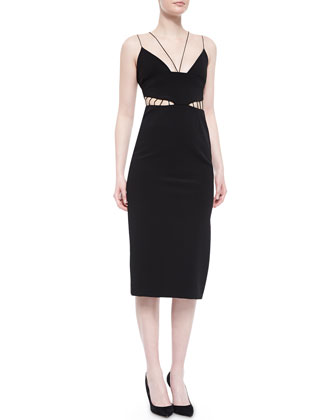 Cage-Front Power Viscose Sheath Dress