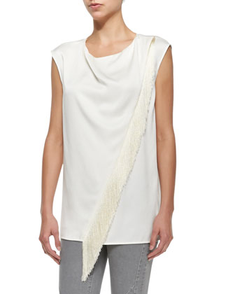 Sleeveless Asymmetric Fringe Blouse, White
