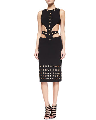 Grommet-Embellished Cutout-Waist Dress, Black