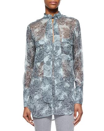 Suede Contrast Fringe-Trimmed Coat, Tie-Neck Charmeuse Blouse & Zip-Pocket ...