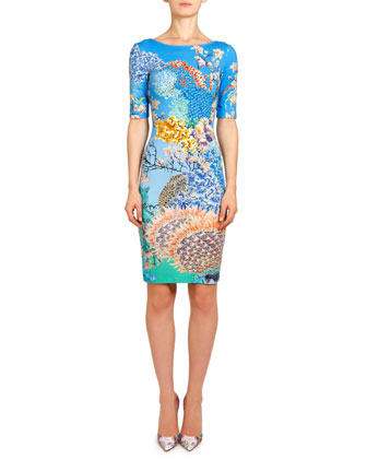 Ramora Ocean Plie Jersey Dress, Blue/Multi
