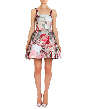 Lobelia Sky Printed A-Line Coat & Tank Dress with Pouf Skirt
