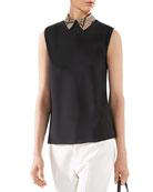 Silk Shirt with Python Collar