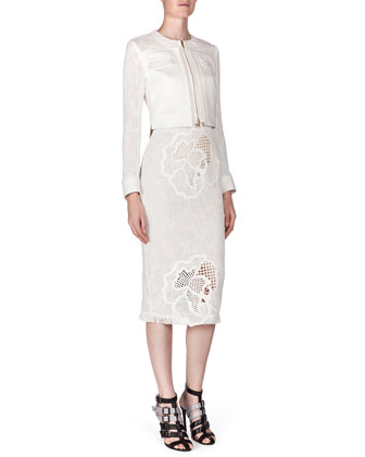 Letton Laser-Cut Flower Jacket & Abersley Laser-Cut Hibiscus Colorblock Dress