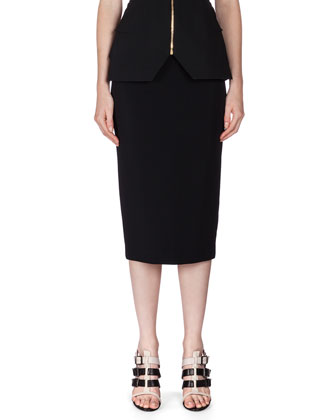 Perreton Colorblock Peplum Top & Arreton Exposed Back-Zip Midi Skirt
