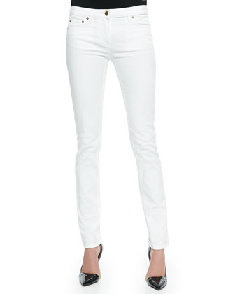 Skinny Denim Ankle Jeans, White
