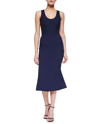 Compact Crepe Flared Midi Dress, Midnight Blue