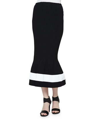 Compact Crepe Crisscross Crop Top & Micro-Plisse Flared Skirt