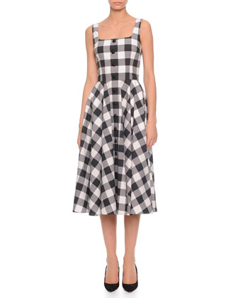 Square-Neck Gingham Full Skirt Dress, Black/White