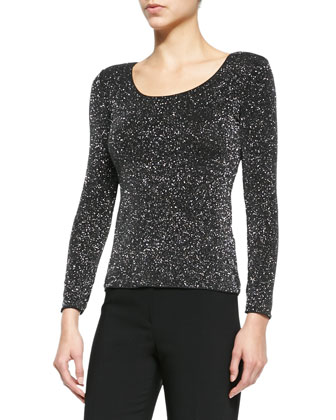Long-Sleeve Glitter Jersey Tee