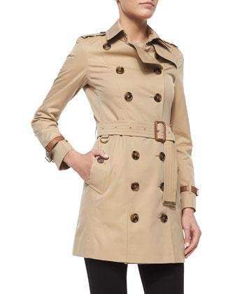 Sandringham Leather-Trimmed Mid-Length Trenchcoat, Honey