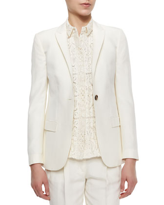 One-Button Fitted Silk Blazer