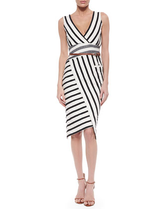 Patchwork Striped Asymmetric Sheath Dress