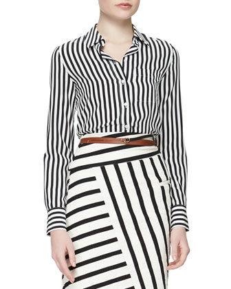 Striped Crepe de Chine Button Blouse