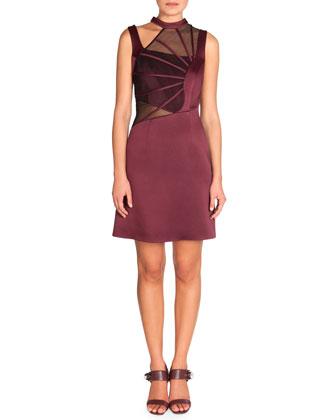Sleeveless Abstract Boning Dress, Burgundy