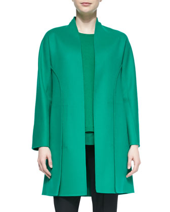 Cashmere-Blend Paneled Coat, Cashmere Chiffon-Trimmed Sweater & Tropical ...