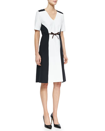 Bicolor Stretch-Cotton Pique Dress
