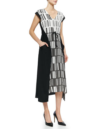 Barcode-Print Paneled Silk Dress