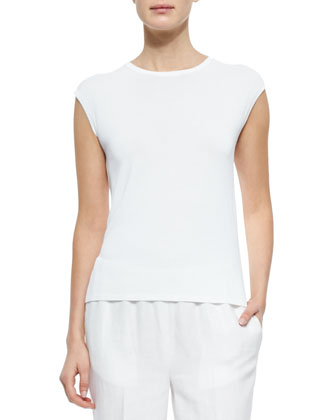Cap-Sleeve Shell Sweater, White