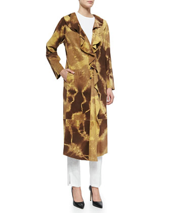 Giraffe-Print Ruffled Suede Coat, Butter Brown