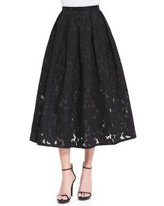 Floral Fil Coupe Midi Skirt, Black