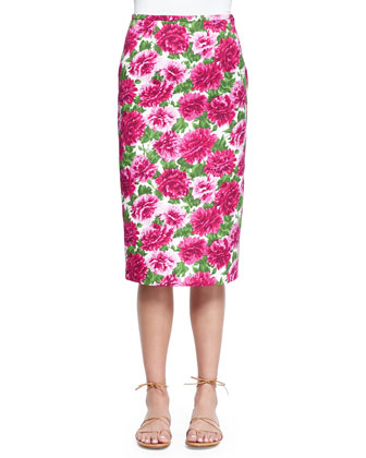Peony-Print Knee-Length Pencil Skirt, White/Geranium