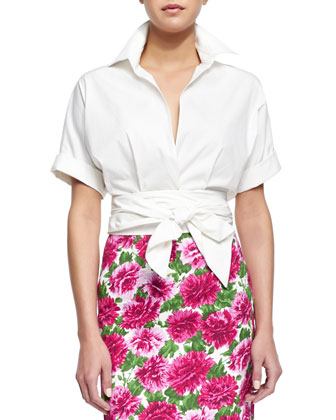Short-Sleeve Wrap-Front Blouse & Pleated Full Stretch Cotton Skirt