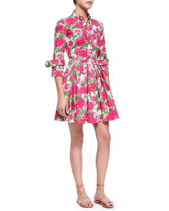 Peony-Print Double-Cuff Shirtdress, White/Geranium