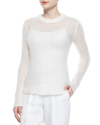 Long-Sleeve Loose-Knit Mohair-Blend Sweater & Cashmere-Blend Ankle Pants, White
