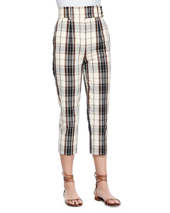 Plaid Mid-Calf Skinny Pants, Muslin/Black