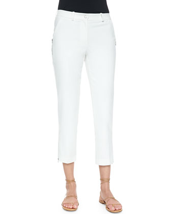 Zip-Detailed Skinny Ankle Pants, Optic White