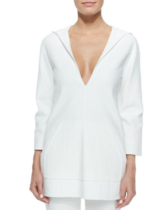 Hooded Deep V-Neck Tunic, Optic White